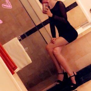 Nordstrom Black Sheer Mesh Long Sleeve Mini Dress